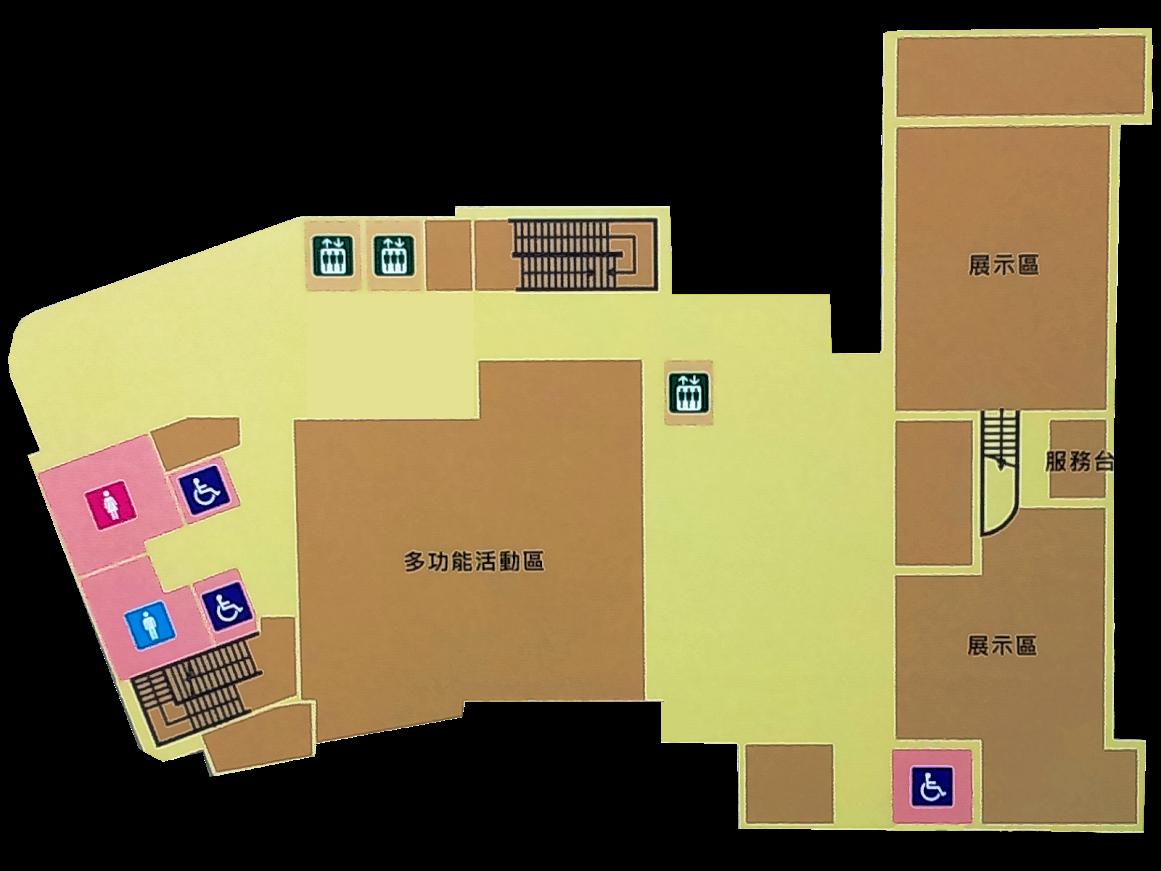 1樓服務台及多功能活動區和廚藝教室